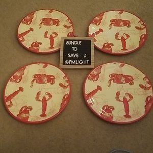 Set of 4 Lobster Plates April Cornell Silvestri
